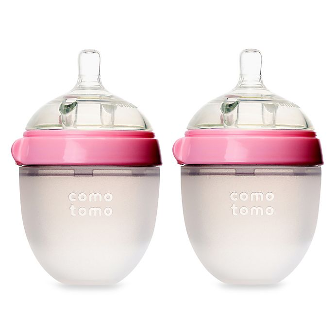 Alternate image 1 for comotomo® 5-Ounce Baby Bottles in Pink (2-Pack)