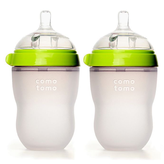Alternate image 1 for comotomo® 8-Ounce Baby Bottles in Green (2-Pack)