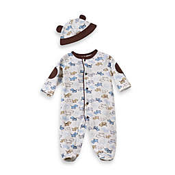 Little Me® Size Newborn Cute Puppies Footie with Cap