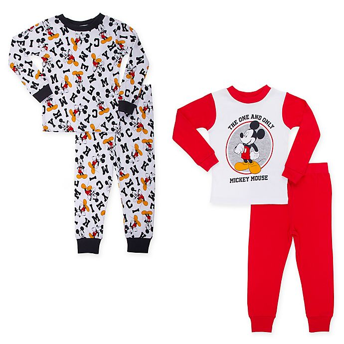 Alternate image 1 for Disney® 4-Piece Mickey Mouse Toddler Pajama Top and Pant Set in Red