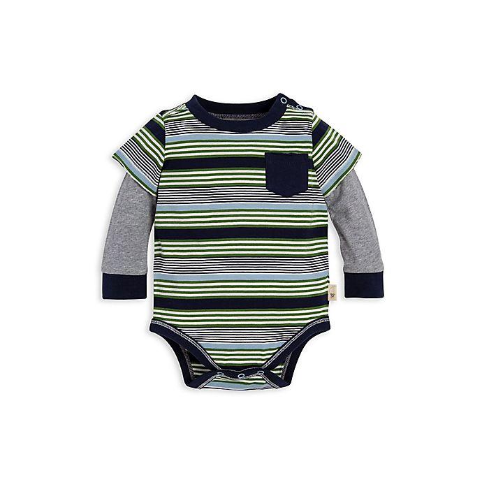 Alternate image 1 for Burt's Bees Baby® 2Fer Stripe Organic Cotton Bodysuit in Navy/Green