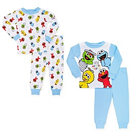Sesame Street® 4-Piece Little Furry Monster Squad Pajama Top and Pant Set