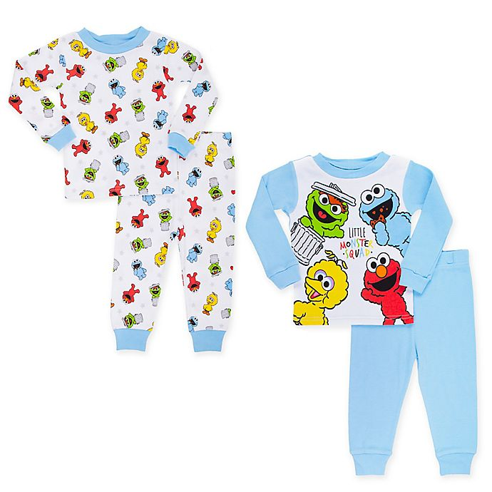 Alternate image 1 for Sesame Street® 4-Piece Little Furry Monster Squad Pajama Top and Pant Set