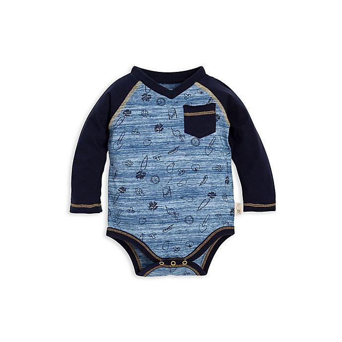 Alternate image 1 for Burt's Bees Baby® Organic Cotton Space Dye Farm Harvest Bodysuit in Blue