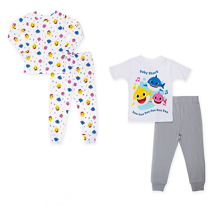 Alternate image 1 for 4-Piece Sing Sharks Toddler Pajama Top and Pant Set in Grey