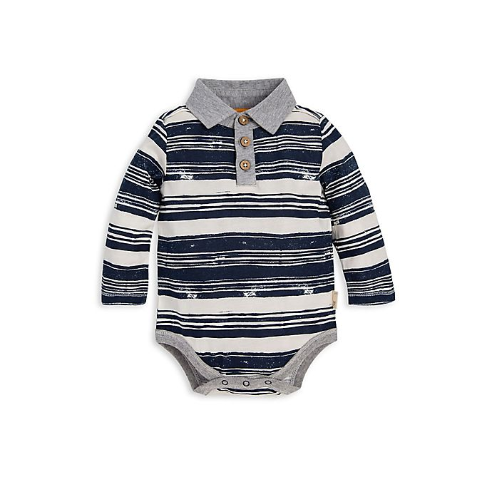 Alternate image 1 for Burt's Bees Baby® Organic Cotton Stripe Polo Bodysuit in Blue/Ivory