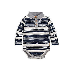 Burt's Bees Baby® Organic Cotton Stripe Polo Bodysuit in Blue/Ivory