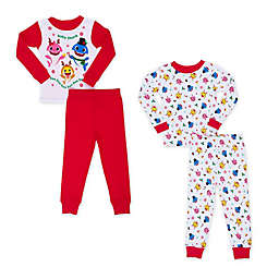 4-Piece Baby Shark Christmas Toddler Pajama Set in Red