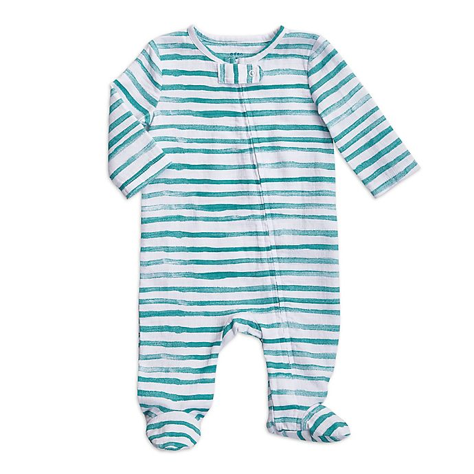 Alternate image 1 for aden + anais® Water Stripe Footed Coverall in Mint