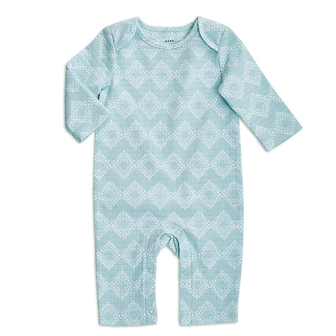 Alternate image 1 for aden + anais® Ziggy Long-Sleeve Coverall in Blue