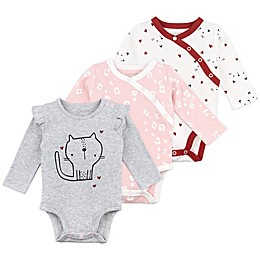 Mac & Moon 3-Pack Cat Print Long Sleeve Bodysuits