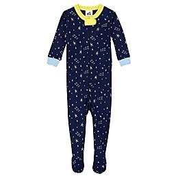 "Just Born® Organic Cotton ""ZZZ"" Sleep 'n Play Footie in Navy"
