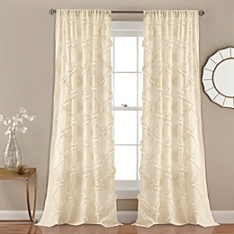 Ruffle Diamond Rod Pocket Window Curtain Panel Pair