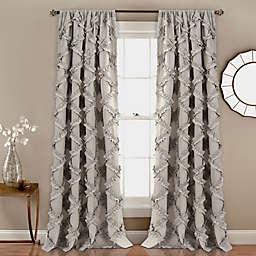 Ruffle Diamond  84-Inch Rod Pocket Window Curtain in Grey (Set of 2)
