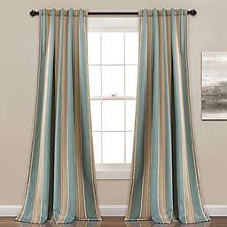 Julia Stripe  84-Inch Rod Pocket/Back Tab Room Darkening Curtain Panel in Blue (Set of 2)