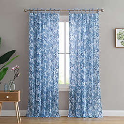 Peach & Oak Mindy 2-Pack  84-Inch Rod Pocket Window Curtain in Blue