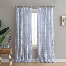 Peach & Oak Yasmin 2-Pack  95-Inch Rod Pocket/Tie Top Window Curtain in Blue