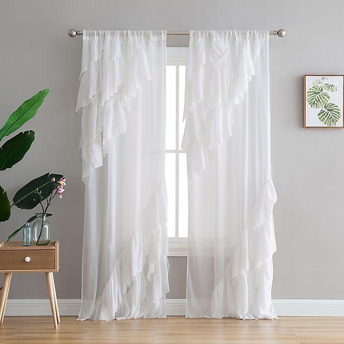 Alternate image 1 for Peach & Oak Astrea 2-Pack Rod Pocket Window Curtain