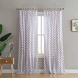 Peach & Oak Azalea 2-Pack Rod Pocket/Tie Top Window Curtain