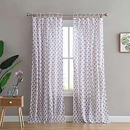 Peach & Oak Azalea Rod Pocket/Tie Top Window Curtain  (Set of 2)