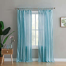 Peach & Oak Clover 2-Pack  63-Inch Rod Pocket Window Curtain in Aqua