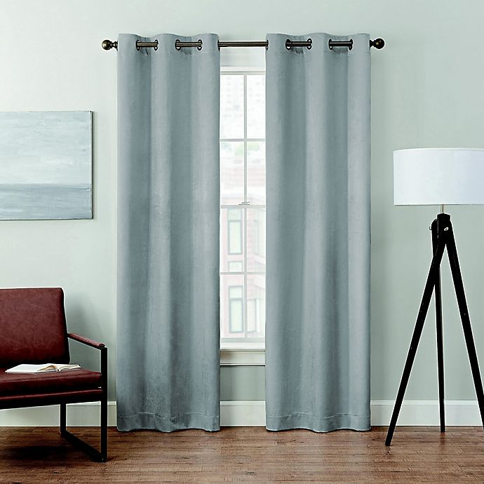 Alternate image 1 for Brookstone® Velvet Solid 2-Pack 100% Blackout Grommet Window Curtain Panels