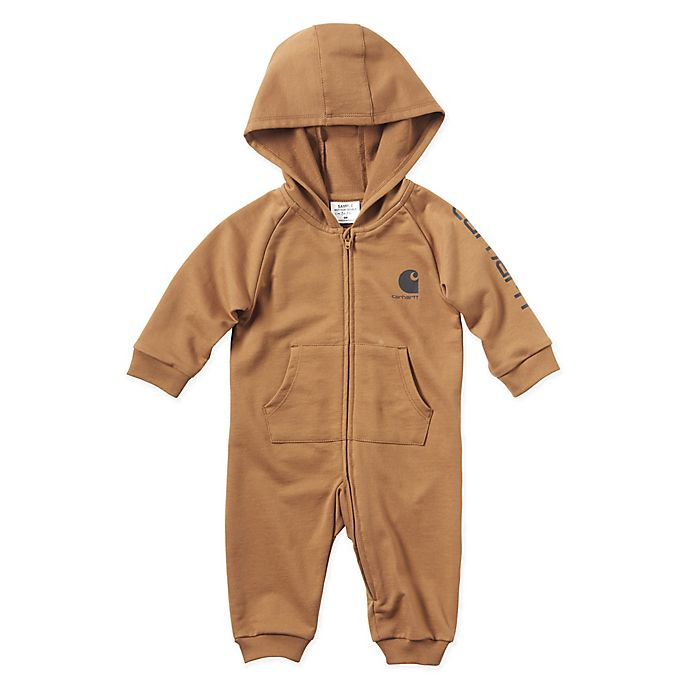 Alternate image 1 for Carhartt® Fleece Hooded Coverall in Brown