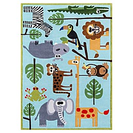 Momeni Lil Mo Whimsy Safari Area Rug in Blue