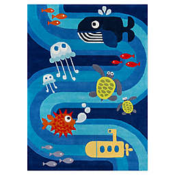 Momeni Lil Mo Whimsy Ocean Life Area Rug in Blue