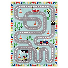 Momeni Lil Mo Whimsy Racetrack Area Rug in Light Blue