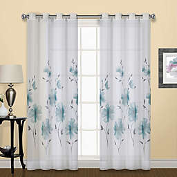 Monet Floral 84-Inch Grommet Window Curtain Single Panel in Teal