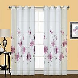 Monet Floral Grommet Window Curtain Single Panel