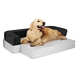 Precious Tails Restology Orthopedic Foam Convertible Sofa Pet Bed in Grey