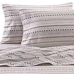 Hidden Retreat Lake & Lodge Aztec Stripe King Sheet Set in Brown