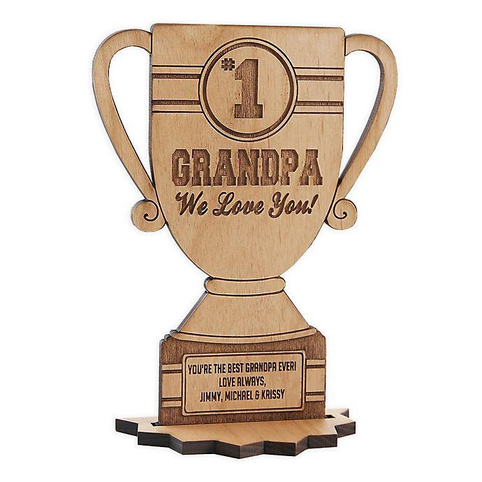 4H trophy award black on natural finish wood base