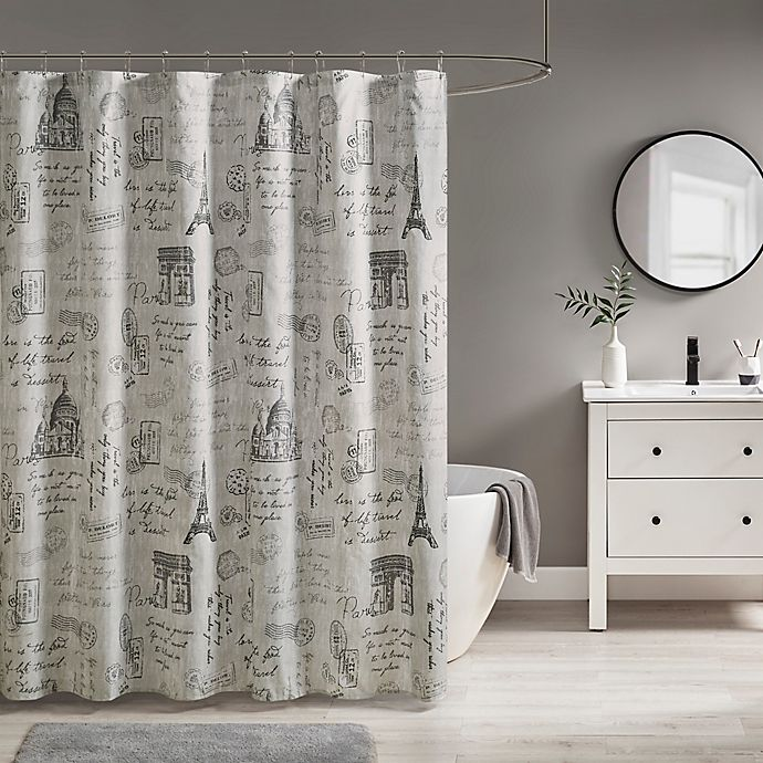 Alternate image 1 for 510 Design Marseille Shower Curtain in Grey/Charcoal