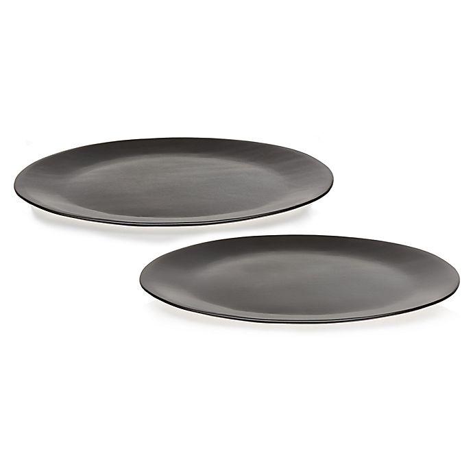 Alternate image 1 for Libbey® Glass Prologue Drift 2-Piece Platter Set in Black