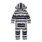 Burt's Bees Baby® Size 6-9M Stamped Stripe Coverall in Ivory/Blue