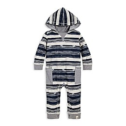 Burt's Bees Baby® Stamped Stripe Coverall in Ivory/Blue
