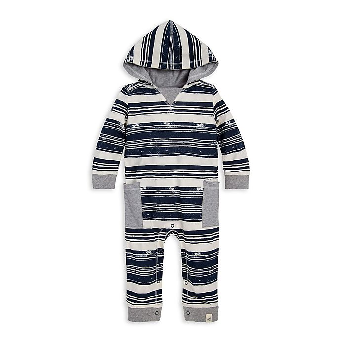 Alternate image 1 for Burt's Bees Baby® Stamped Stripe Coverall in Ivory/Blue