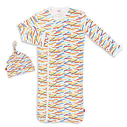 Magnetic Me by Magnificent Baby® Newborn 2-Piece Bright Lines Gown and Hat Set