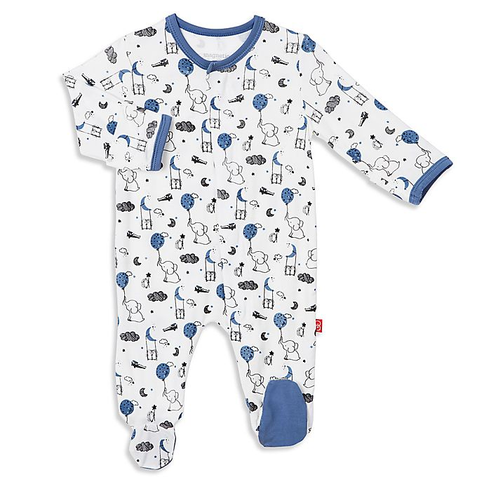 67c1a818e Magnetic Me by Magnificent Baby® Elephants Footie in Blue   buybuy BABY