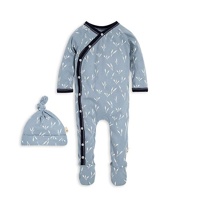 Alternate image 1 for Burt's Bees Baby® Preemie Tall Grass Organic Cotton Kimono Footie in Blue