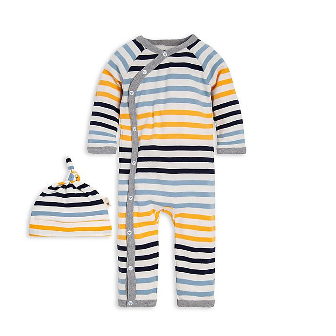 Alternate image 1 for Burt's Bees Baby® Preemie Tri-Stripe Organic Cotton Kimono Coverall in Yellow