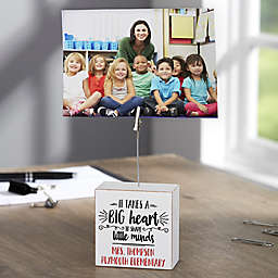 """""""It Takes A Big Heart"""" Personalized Photo Clip Holder Block"""