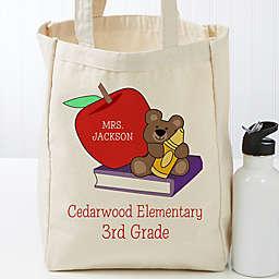 Teddy Bear Personalized 14-Inch x 10-Inch Teacher Canvas Tote Bag