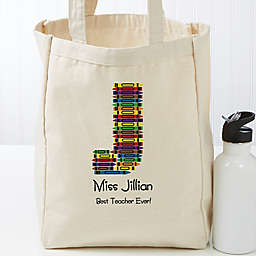 Crayon Letter Personalized 14-Inch x 10-Inch Teacher Tote Bag