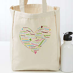 Her Heart of Love Personalized 14-Inch x 10-Inch Canvas Tote Bag