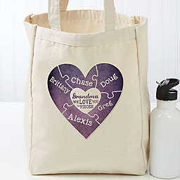 We Love You To Pieces Personalized 14-Inch x 10-Inch Tote Bag