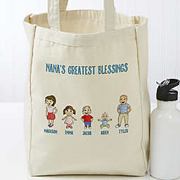Grandchildren Character Personalized 14-Inch x 10-Inch Canvas Tote Bag